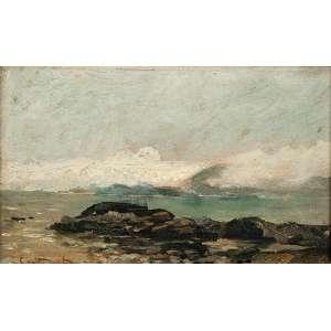 CASTAGNETO Marinha, praia. Osc, 13,5 x 22,5 cm. Assinado no cie.