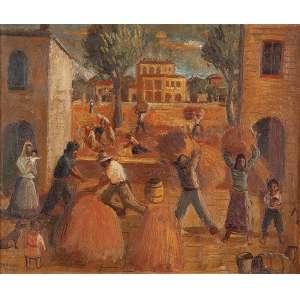 FÚLVIO PENNACCHI Aldeia toscana. Osm, 28 x 33 cm. Assinado e datado de 1943 no cie.