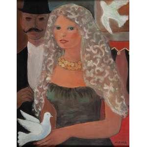 NOÊMIA MOURÃO O casamento. Ost, 64 x 50 cm. Assinado no cid. Coleção Yolanda Ferraz de Camargo.