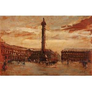 AGOSTINELLI Praça Vendome - Paris. Ose, 52 x 80 cm. Assinado e datado de 1952 no cid. Coleção Yolanda Ferraz de Camargo.
