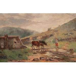 GENTIL GARCEZ Paisagem rural. Osp, 19 x 29 cm. Assinado no cid.