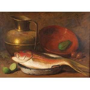 PEDRO ALEXANDRINO Peixe, cobre e vegetais. Ost, 54 x 73 cm. Assinado no csd.