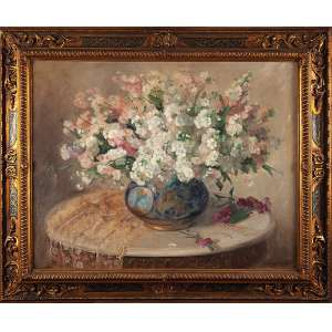 LUCILIA FRAGA Vaso com flores. Ost, 71 x 91 cm. Assinado no cid.