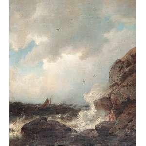 GUDE, Hans Frederik (1825-1903) Mar revolto. Ost, 39 x 33 cm. Assinado no cie. Pintor da Escola Norueguesa.
