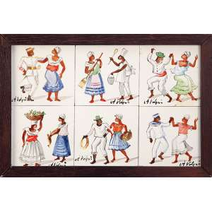 ALFREDO VOLPI Conjunto de seis pequenos azulejos de 7,5 x 7,5 cm cada, com pintura de diferentes cenas, todos assinados por Volpi, permitindo varias configurações de montagem.