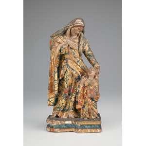Sant'Ana Caminhante. Imagem de madeira policromada e dourada. 26 cm de altura. Brasil, séc. XVIII.
