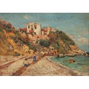 CAMPRIANI, Alceste (1848-1933) Vista de Capri. Osm, 16 x 22,5 cm. Assinado no cie e situado Capri.