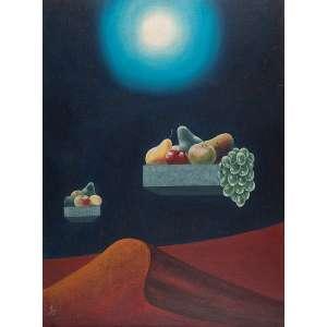 WALTER LEWY Surreal com frutas. Ost, 81 x 60 cm. Assinado e datado de 1983 no cie.