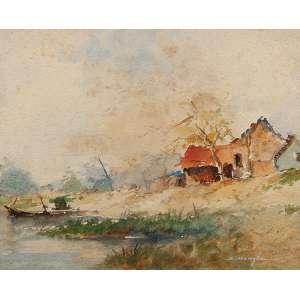REYNALDO MANZKE Paisagem. Aquarela sobre cartão, 28,5 x 35 cm. Assinado e datado de 51, no cid. Sem moldura.