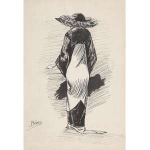 BELMIRO DE ALMEIDA<br />Dama com chapéu. Aguada de nanquim, 30 x 20,5 cm. Assinado no cie.