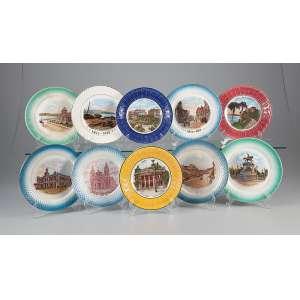 Coleção de 10 pratos de louça, retratando iconografia brasileira. 19 cm de diâmetro. <br />Diversas manufaturas. Séc. XIX/XX.
