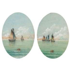CARLOS REIS<br />Par de vistas do Rio de Janeiro (Botafogo) com navios. Aquarela sobre papel, ovais, <br />19,5 x 14 cm. Assinado no cid.