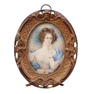Retrato a meio corpo de mulher com estola azul, miniatura oval, aquarela e guache sobre marfim, <br />6,7 x 5 cm. Moldura oval em bronze, 10,3 x 8 cm. Sem assinatura.