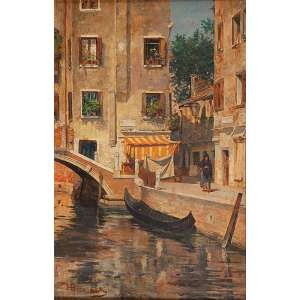 HENRIQUE BERNARDELLI<br />Canal e casario em Veneza. Osm, 46,5 x 30 cm. Assinado e localizado Veneza no cie.