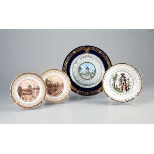 Conjunto de quatro pratos comemorativos ao IV Centenário da cidade de São Paulo, de porcelana, <br />decorados com vistas alusivas à cidade. 25 cm de diâmetro, o maior. Brasil - Europa, séc. XIX/XX.