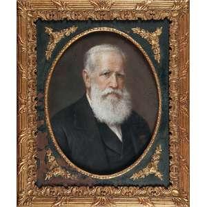 ANONIMO<br />Retrato de D. Pedro II. Desenho a pastel sobre cartão (?). Moldura com janela oval para o desenho, <br />51 x 39 cm, com a moldura 73 x 61 cm.