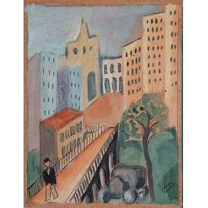 DI CAVALCANTI<br />Vista de cidade, com homem. Guache sobre papel, colado em cartão, 19 x 15 cm. Assinado no cid, déc. 30. <br />Coleção Brancante.