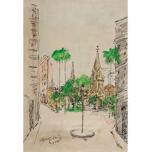 VITÓRIO GOBBIS<br />Largo do Paissandú - S. Paulo. Bico de pena e aquarela sobre papel, 35 x 24 cm. <br />Assinado e datado de 1954 no cie.