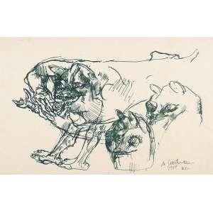 MARCELO GRASSMANN<br />Animais. Nanquim sobre papel, 27 x 41,5 cm. Assinado, datado de 1954 e localizado Wien no cid.