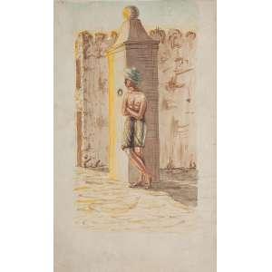 FRANCISCO DE SOUZA LOBO - (atribuído)<br />Figura de homem com turbante. Aquarela sobre papel, 19 x 11,7 cm. Sem assinatura. <br />No verso: desenho de figuras, lápis.