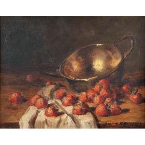EDGARD OEHLMEYER<br />Morangos e tacho de cobre. Ost, 36 x 41 cm. Assinado e datado de 943 no cid.