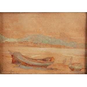 OSCAR PEREIRA DA SILVA<br />Praia de Copacabana. Aquarela sobre papel, 15,5 x 21 cm. Assinado no cid.