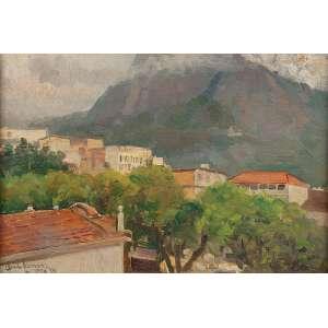ANGELO CANONE<br />Vista de casas com morro ao fundo. Osm, 25,5 x 35,5 cm. <br />Assinado, localizado Rio e datado de 35 no cie.