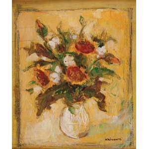 KRIVOUTZ<br />Vaso com flores. Osm, 50 x 42 cm. Assinado no cid. (com rachaduras).