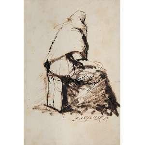 EDGARD OEHLMAYER<br />Vulto de mulher. Nanquim sobre papel, 12 x 8 cm. Assinado no cid.