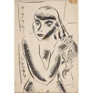 NOÊMIA MOURÃO<br />Figura feminina. Nanquim sobre papel, 31 x 22 cm. Assinado e datado de 36 no cid.