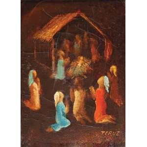 ORLANDO TERUZ<br />Cena sacra. Ost, 22 x 16,5 cm. Assinado no cid. <br />No verso, assinado, localizado Rio e datado de 1969.