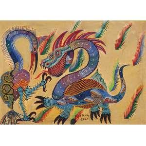 CHICO DA SILVA<br />Animais fantásticos. Ost, 50 x 70 cm. Assinado e datado de 1942 no centro inferior.