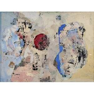 YOLANDA MOHALYI <br />Composição. Técnica mista, 55 x 72 cm. Vestígios de assinatura no cid.