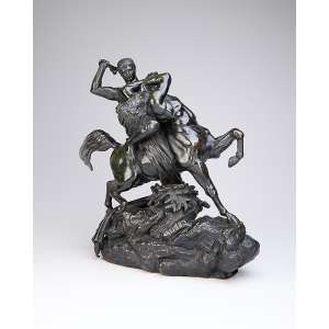 BARYE, Antoine Louis <br />Théssée combattant le centaure Bienor. Escultura de bronze. 42 cm de altura. Assinado e com a marca da fundição Barbedienne - Paris. França, circa 1850. Peça em tamanho monumental encontra-se na coleção do Museu do Louvre.