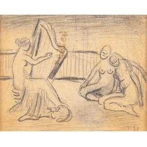 """TARSILA DO AMARAL <br />Harpista. Grafite sobre papel, 8,3 x 10 cm. Assinado T.21 no cid. <br />""""Coleção Brancante""""."""
