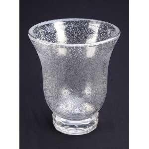 Vaso de cristal de Daum, sob forma de sino, decorado com bolhas, base circular chanfrada, gravada numa <br />das facetas da base. Daum / Nancy / France. 23 cm de diâmetro x 27,5 cm de altura. França, séc. XX.