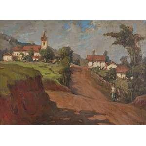 LABOZETTO, Luiz (1935) <br />Caminho da matriz - Itajubá. Ost, 33 x 46 cm. Assinado no cid, datado de 82.