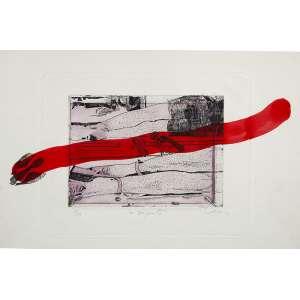 WESLEY DUKE LEE <br />Gravura 9/9 com interferência de serpente vermelha aquarelada, 26 x 38 cm. Assinada no cid.