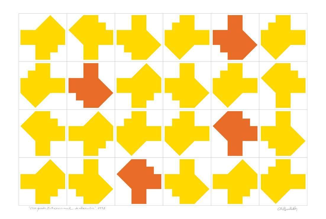 Athos Bulcão - Gravura | Fundação Athos Bulcão.Aeroporto JK , lado amarelo.Medidas da obra: 40x60cm. Sem moldura.