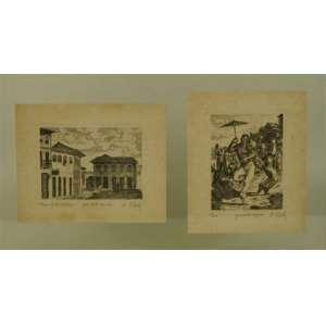 Desenhos - Casas de Diamantina e Frevo Água Forte original - 23 x 28,5 cm e 27 x 22,5 cm.