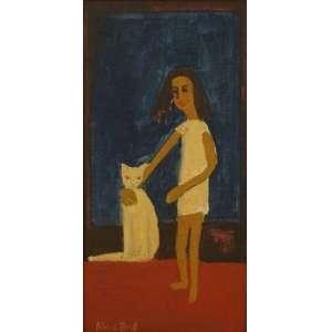 Alice Brill - Menina e gato - CIE /OST colado sobre placa - 36 x 18 cm.
