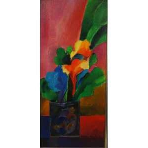 ALDEMIR MARTINS - Vaso de flores - OST/CID - Datado de 76 - 45 x 20 cm.
