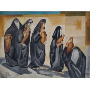 JONH GRAZ - Marrocos e mulheres , óleo sobre tela Dat 1978 , 60 x 80 cm .Registrada no Instituto .
