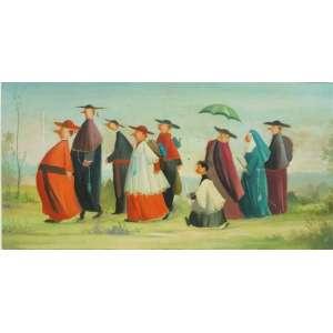 PIETRO ARDITO - Figuras do clérigo , O/S/M , assinado. Artista da escola Argentina - 30 x 60 cm.