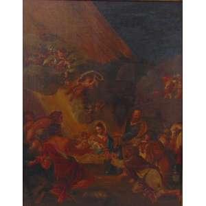Bernardo Cavallino (1616-1656) Atribuído - Natividade, óleo, sobre tela - 65 x 50 cm., Proveniente do Mirante das Artes e posteriormente comercializado pelo escritório Renato Magalhaes Gouvêa. Coleção Particular Paulista