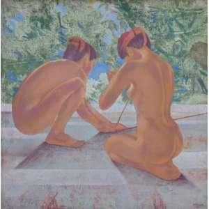 Carmelio Cruz - Duas mulheres fiandeiras - Óleo sobre tela / assinado no canto inferior direito - Datado de 77 - 90 x 90 cm.