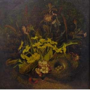 Oliver Clare - British 1853 – 1927 –Natureza Morta, óleo sobre placa de madeira, 50 x 50 cm. obra de grande qualidade pictórica