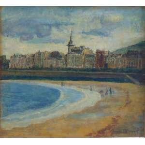 Georgina de Albuquerque - Cena de praia , óleo sobre eucatex - 32 x 35 cm.