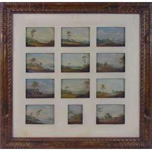 Coleção com 12 miniaturas de pinturas representando cenas de paisagens executada sobre folha de zinco .Europa Séc XXIX - 7 x 10 cm cada.