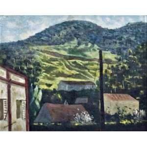 CÂNDIDO PORTINARI - (São Paulo/Brodowski 1903 - Rio de Janeiro 1962) Paisagem de Petrópolis - OSM -Acie - 1952 - 31 x 37 cm Reproduzido no Catálogo Raisonné Vol II pág 349 (FCO 2099)